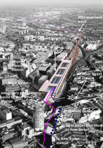 Birmingham Curzon Street HS2 station aerial view, artist's impression
