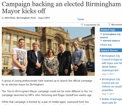 Birmingham Post, Yes-to-Birmingham-mayor campaigners