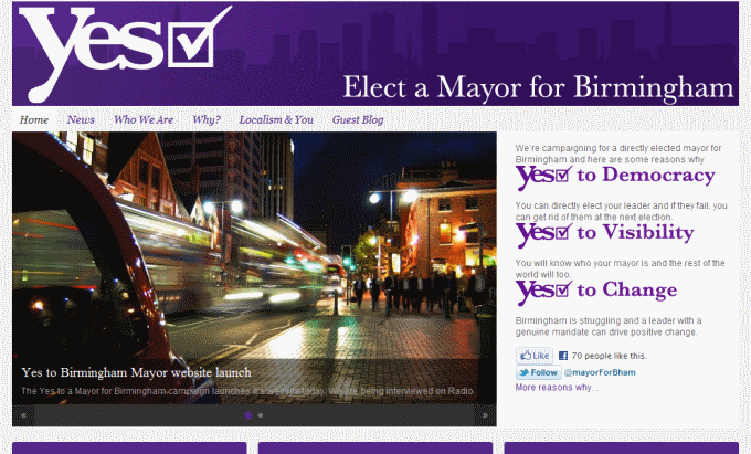 Elect a mayor for Birmingham, landing page, Nov 2011