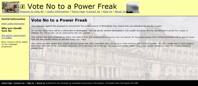 Campaign for Accessible Government in Birmingham - 'Vote no to a power freak', landing page - Nov 2011