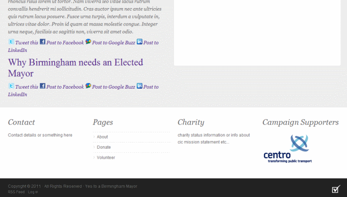 Yes to Birmingham mayor website mockup
