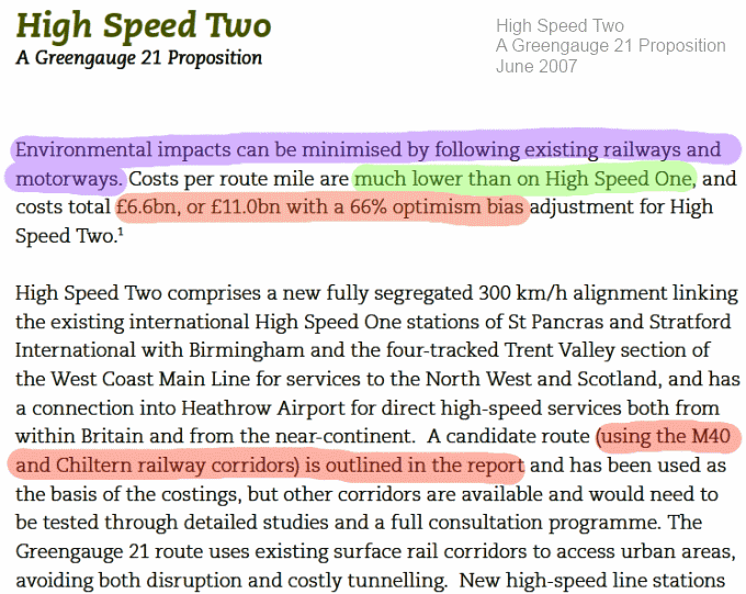 Extract from Greengauge21's 2007 High Speed Two proposition