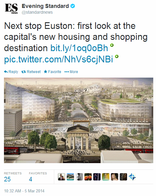 The Evening Standard tweeted a vision of a 'Gideon Euston' HS2 terminal, with a replica of the old station arch