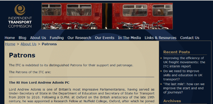 Independent Transport Commission website, About page