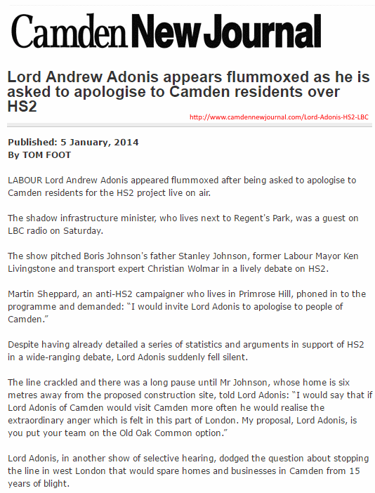 Camden New Journal, 'Andrew Adonis appeared flummoxed', 5 Jan 2014