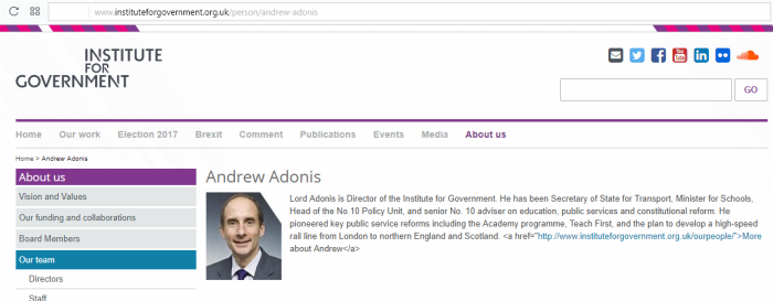 'Andrew Adonis is director of the IFG, according to its website
