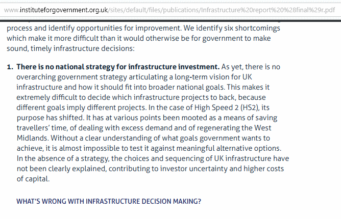 IFG, What's wrong with infrastructure decision making' (extract)
