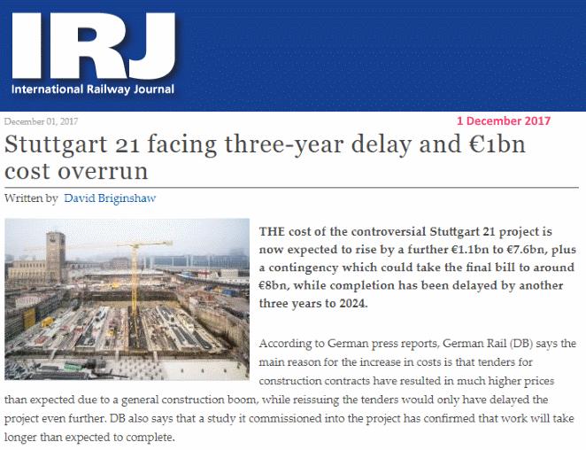 IRJ, Stuttgart 21 facing three year delay and EUR 1bn cost overrun