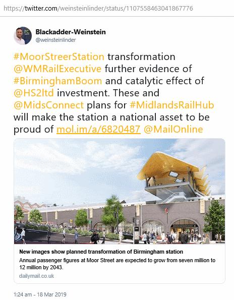 twitter @weinsteinlinder, Moor Street station transformation