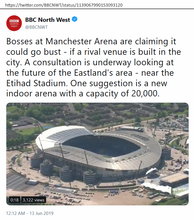 twitter, @BBCNWT, 'Bosses at Manchester Arena are claiming it could go bust - if a rival venue is built in the city. A consultation is underway looking at the future of the Eastland's area - near the Etihad Stadium. One suggestion is a new indoor arena with a capacity of 20,000.'