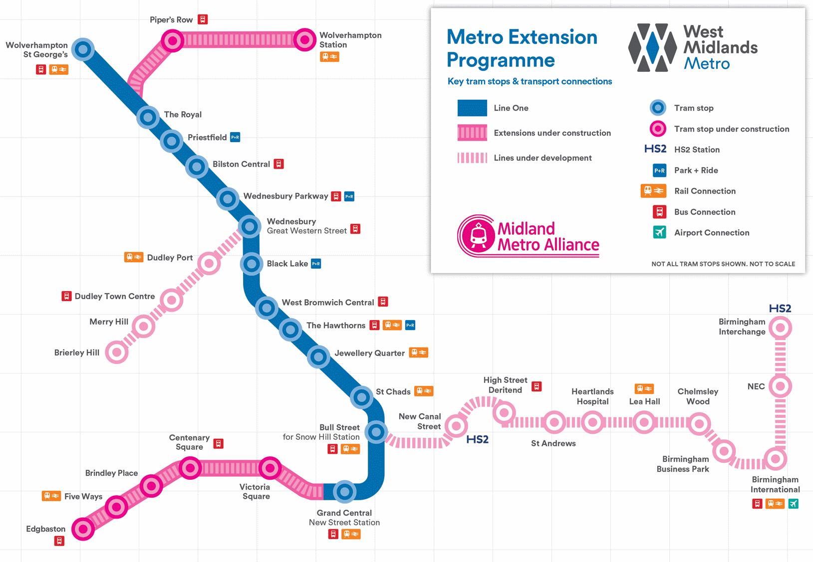 Midland Metro Alliance, Metro routes