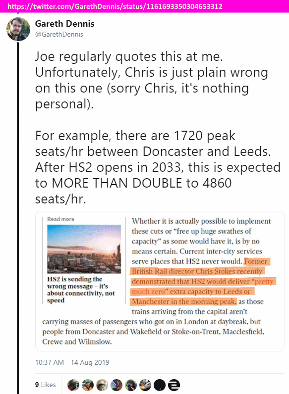 twitter, @GarethDennis, 'For example, there are 1720 peak seats/hr between Doncaster and Leeds. After HS2 opens in 2033, this is expected to MORE THAN DOUBLE to 4860 seats/hr.'