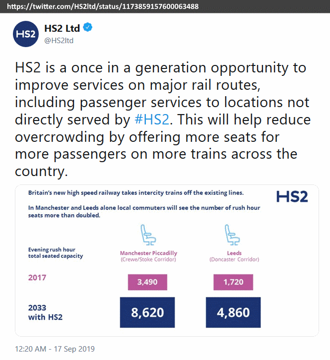 twitter, High Speed Two phase 2b opening date shown as 2033 in @HS2ltd tweet of 17 Sep 2019